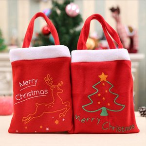 Wholesale 2 Style Merry Christmas Letters Gift Bags Kids Christmas Party Candy Handbag Apple Bag Outdoor Shopping Props
