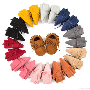 Moccasin Baby First Walkers Soft Bottom Non-slip Fashion Tassels Newborn Babies Shoes 14-colors PU Leather Prewalkers Boot on Sale