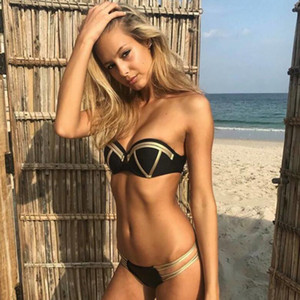 Gold Stamping Bikini Set Sexy Padded Women Swimsuit Push Up Bandeau Swimwear Summer Beachwear Brazil Bathing Suit bandage