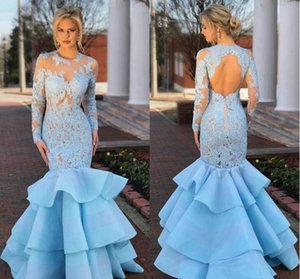 Wholesale Elegant Light Sky Blue Mermaid Evening Dresses Sheer Jewel Neck Long Sleeve Lace Ruffles Organza Backless New Prom Formal Party Dresses