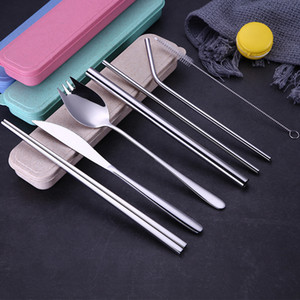304 stainless steel cutlery fork and spoon with environmental protection straw cleaning brush set gift DHL