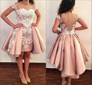 Wholesale Sheer Mesh Top Satin Cocktail Dresses 2019 Lace Applique Over Skirts Formal High Low Sheer Back Party Short Prom Gowns With Buttons BA8007