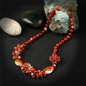Wholesale K s Gadgets Red Striped Onyx Necklaces Pendants Fashion Round Ball Beads Natural Stone Chocker Necklace For Women Accessories