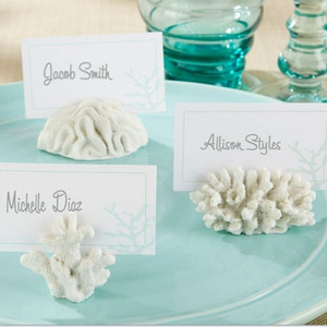 Wholesale 100pcs seven Seas White Summer Coral Resin Place Card Holder Photo Holder Beach Theme Wedding Frame Party