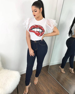 Wholesale Summer Black T Shirt Women Tops Lace T shirt Lips Printed Short Sleeve Tshirt Women Tops Tees