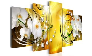 Wholesale White Vivid Floral Diamond Painting Lily Flower Modern Picture Wall Decor Yellow Background Fashion Artwork Framed