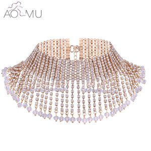 Wholesale whole saleAOMU Chunky Statement Necklace For Women Paved Crystal Neck Bib Collar Choker Necklace Maxi Jewelry Golden Silver Colors Bijoux