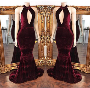 2018 African Dresses Burgundy Velvet Mermaid Prom Dresses Elegant High Neck Evening Gowns Sexy Vestidos De Fiesta on Sale