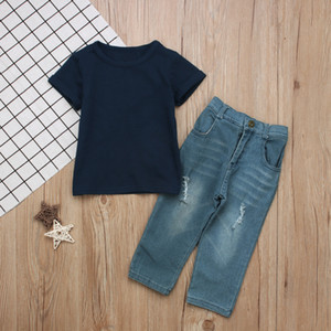 Boys causal jeans outfits 2pc set dark blue short sleeve T shirt+distressing jeans fashion kids clothing 1-4T