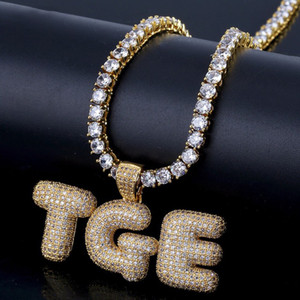 "A-Z 0~9 Custom Name Bubble Letters Pendant with 18"" Faux Diamond Chain&24"" Rope Chain Iced Out Chain Hip Hop Jewelry Women Men Necklaces"