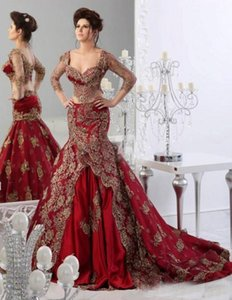 Traditional Crop Top Two Pieces Wedding Dresses Mermaid Sweetheart 2018 Indian Jajja-Couture Burgundy Bridal Gowns with Sleeves Lace