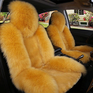Wholesale Winter Warm Car Front Seat Covers Long Wool Artificial Fur Universal Fit SUV Sedans Chair Pad Cushion Antiskid Breathable