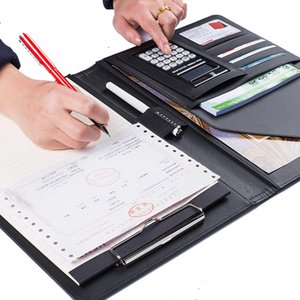 A4 Manager Folder Multifunction Leather Office Folder Includes  12-bit calculator Clipboard Business organizer on Sale