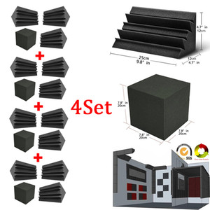 Bass Trap Foam Wall Corner Audio Sound Absorption Foam Studio Accessorie Acoustic Treatment Panels 4Psc set