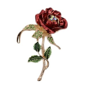 1 PCS Red Rose Flower Brooch Garment Accessories Wedding Bridal Jewelry Crystal Brooches for Men  Women