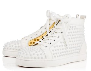 Wholesale 2018 New Arrival Mens Women white gold leather white gold spikes High Top Red Bottom Sneakers Brand Casual Shoes Drop Shipping