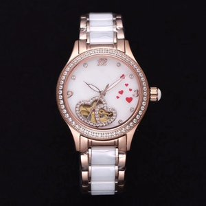 Wholesale Fashion ladies mechanical watch, exquisite and meticulous, gorgeous and exquisite: rose gold three-needle heart-shaped hollow waterproof wat