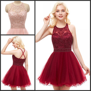 Wholesale Short Prom Dresses for Juniors Embroidery Appliques Tulle Homecoming Dress Backless Teens Semi Formal Special Occasion Dresses