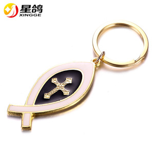 Fashion Design Fish Cross Key Chain metal Christian Jewelry Gifts Cross Key chain key ring Wholesale