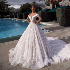 Cascading Off The Shoulder 3-D Lace v-Neck Complemented Wedding Dress 17354 With Crystals Ball Gown Bridal Gowns