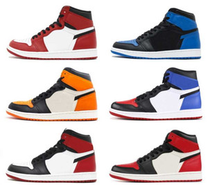 Wholesale TOP Factory Version Basketball Shoes Top Chicago Black Bred Toe Royal Blue mens trainers New Genuine Leather Sneakers with Box