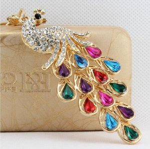 Wholesale Exquisite peacock shape key ring colorful rhinestone key chain metal key ring handbag pendant nice gift