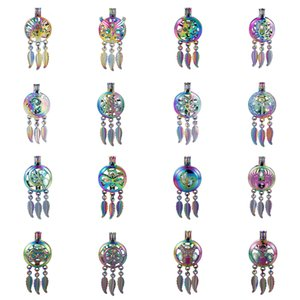 Wholesale 10pc Rainbow Colored Dream Catcher Dragonfly Tree of Life Oyster Pearl Cage Essential Oil Diffuser Mohemian Locket Pendant Jewelry Making