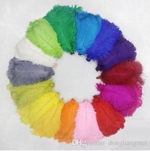 new marki 100pcs lot 12-14inch Ostrich Feather Plume White,Pink,Yellow Purple Red Ivory Gold royal blue black turquosie Orange green z134