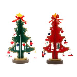 Wholesale DIY Wooden Red Green Christmas Tree Decoration Snowman Kids Toy Home Festival Gift Ornament Xmas Tree Table Desk Scene Layout