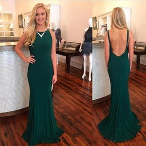 Hotsale Dark Green Mermiad Backless Evening Dresses Sexy Sweep Train Elegant Prom Dresses 2018 Plus Size on Sale