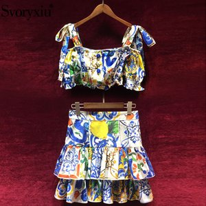 окрашенная керамика оптовых-Svoryxiu Runway Summer Cotton Two Piece Set Women s Bow Sling Short Tops Ruffles Skirts Painted Pottery Printed Skirt Suit