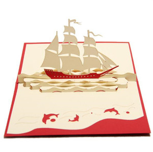 Wholesale New Creative Sailing Boat Greeting Cards Handmade Kirigami Origami D Pop UP Greeting Cards Birthday Gift Business Postcard