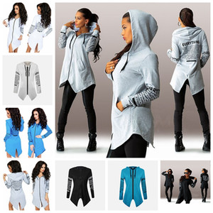 Wholesale European spring and autumn solid color printed long-sleeved zipper fleece hooded sweater. White, gray, black, blue, support mixed batch