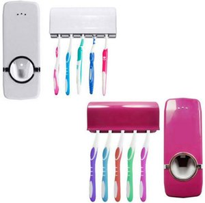Wholesale Touch Me Auto Toothpaste Dispenser Squeezer Brush Holder Hole Set Wall Mount Rose Red and white SN1125