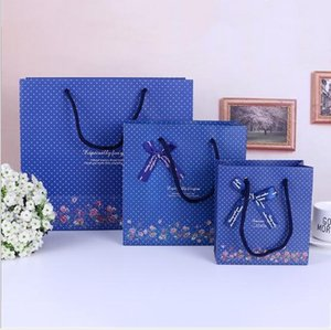 Wholesale Deep Blue Small Flowers Handbag Simple Business Paper Bag Gift Storage Bag Party Wedding Valentine s Gift Bags