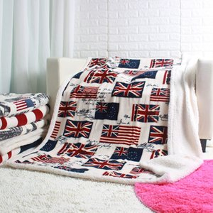 Wholesale Europe Double Layer Thick USA US UK ENGLAND BRITISH Flag Fleece Sherpa Plush Faux Fur Tv Sofa Gift Blanket Throw Blankets x160cm