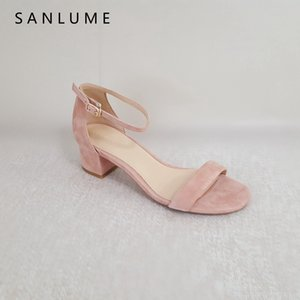 Wholesale 2018 New Arrive Summer Sandals Women Pumps Ladies Genuine Leather Sandal Sexy Ankle Strap Thick Heels Peep Toe Kid Suede