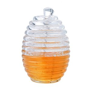 Wholesale Transparant Honey Pot With Stirring Rod Portable Apple Strawberry Jam Bottle Safe Fruit Juice Container Food Grade 13tc Ww
