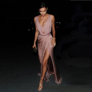 Wholesale 2018 Irina Shayk Celebrity Dresses Sexy Red Carpet Evening Dresses A-Line Chiffon Deep V-Neck Long Prom Party Gowns Side Split Vestios De