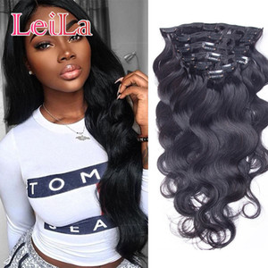 Full Head Clip In Human Hair Extensions Natural Black Hair Clip In 100-140 g Peruvian Body Wave Hair Clip in Extensions