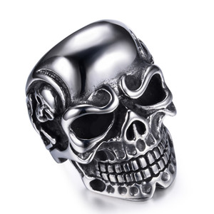 Fashion Man Stainless Steel Ring with Skull Skeleton Motor Biker Punk Jewelry Hand Polished Accessories For Wholesale on Sale