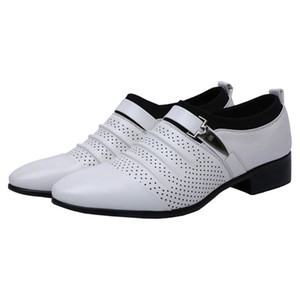 ingrosso scarpe uomo oxford estivo-Mens Single Monk cinghie Punched Cap toe Oxfords Dress Shoes per l estate Slip On Scarpe Business casual traspirante