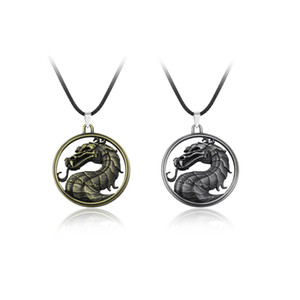 Wholesale Mortal Kombat necklace dragon vintage pendant movie video game jewelry Men Women