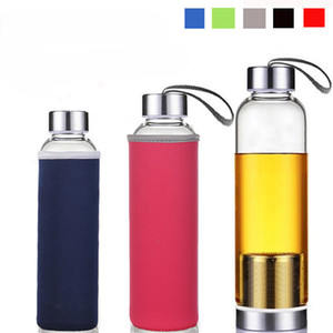 18.5oz Glass Water Bottle Tea Infuser Bottle Bpa-Free With Nylon Sleeve with stainless steel Strainers