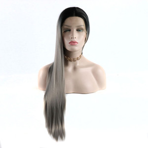 Cheap Synthetic Lace Front Wigs With Baby Hair Black Roots Ombre Grey Straight Synthetic Wig Heat Resistant Fiber For White Women