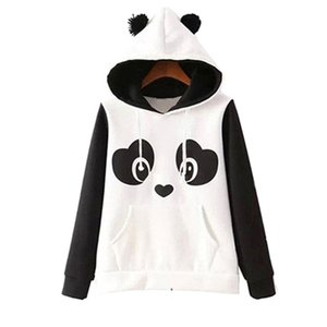 Wholesale Cute Cotton Blended Women s Panda Style Fleece Pullover Hoodie O Neck Sweatshirts Hooded Coat Tops Hot