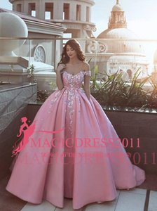Floral Off-The-Shoulder Prom Dresses Quinceanera Gowns Pink Puffy Evening Gowns 3D Flowers Formal Prom Gowns Custom Made on Sale