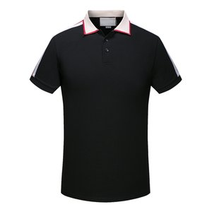 Wholesale 2019 luxury Italy designer stripe polo shirt t shirts Luxury snake polos bee floral embroidery mens High street fashion horse polo T shirt