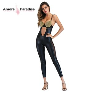 Wholesale Gold Sexy Leather Jumpsuit Sleeveless Erotic Bodysuit Female Exotic Night Club Sexy Wear Vinyl Plus Size Hollow Out Jumpsuit