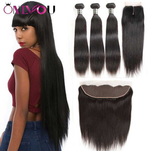 Onlyou Hair® 9a Brazilian Virgin Hair Straight Bundles with Closure 100% Remy Human Hair Weave 3 4 Bundles with 13*4 Lace Frontal Closure